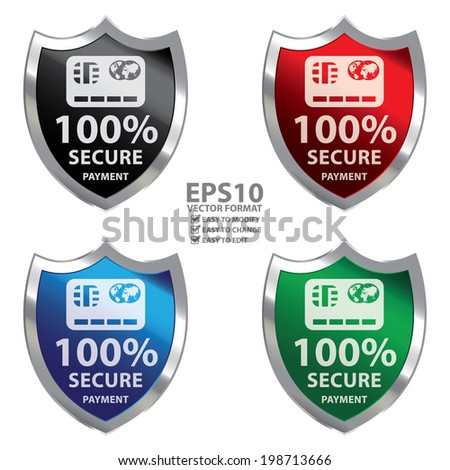 Vector : Colorful Metallic Shield With 100 Percent Secure Payment Sign Isolated on White Background - stock vector