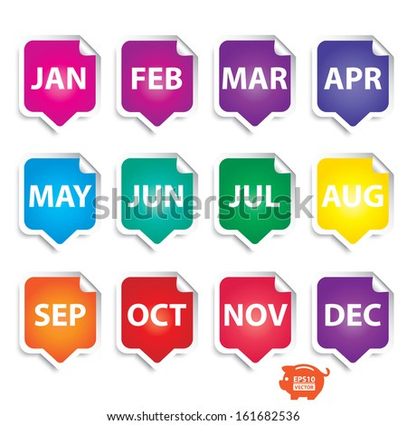 Vector: Colorful month stickers. Eps10. - stock vector