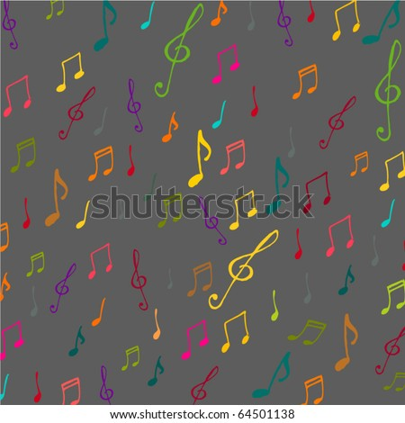 vector colorful music background with notes - stock vector
