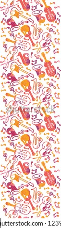 Vector colorful musical instruments seamless pattern background with hand drawn elements - stock vector