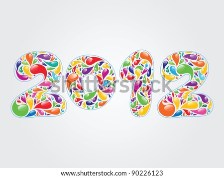 vector colorful numbers 2012 - stock vector