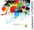 Vector colorful paint, drops, ink splashes. Grunge illustration background. - stock vector