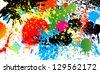 Vector colorful paint drops ink splashes Grunge illustration card design. - stock vector