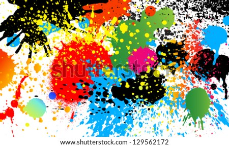 Vector colorful paint drops ink splashes Grunge illustration card design. - stock vector