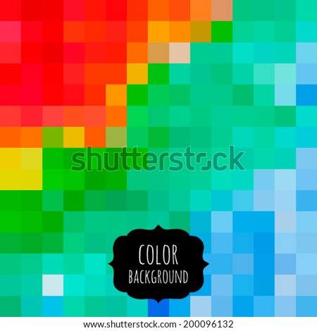 Vector colorful pixel effect background. Bright abstraction pattern. Creative digital decoration. Geometric spectrum mosaic. Design bits in square. Tech style rainbow texture. - stock vector