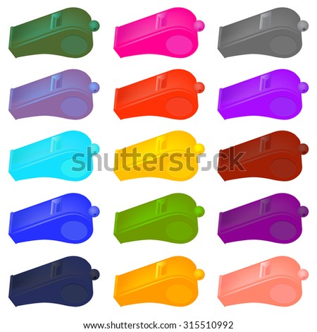 Vector Colorful  Plastic Whistle Isolated on White Background - stock vector