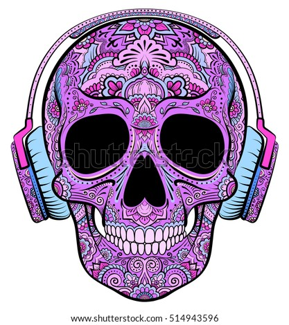 Vector colorful purple skull graphics with floral ornaments and headphones
