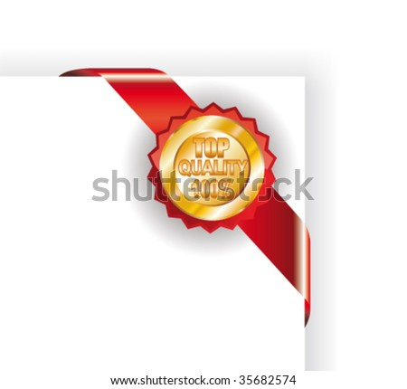 VECTOR Colorful Quality and Guarantee Golden Labels - stock vector