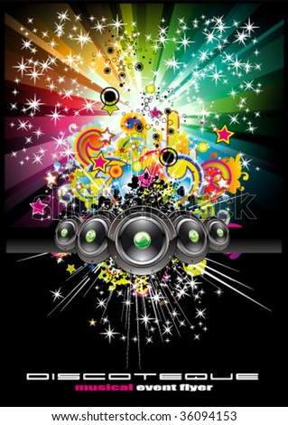 VECTOR Colorful Rainbow Abstract Music Background for Disco flyers - stock vector