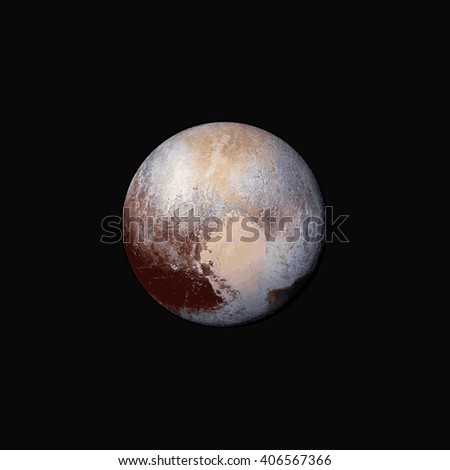 vector colorful realistic planet Pluto isolated illustration on dark space background