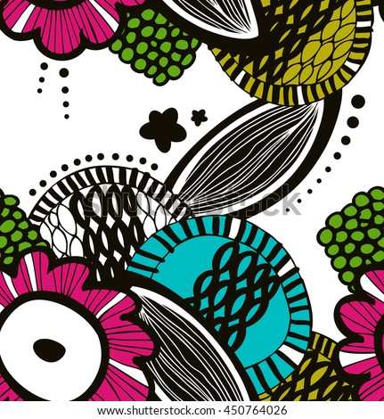 Vector colorful seamless decorative floral pattern. Abstract drawn background. Summer texture - stock vector