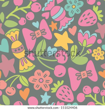 Vector colorful seamless pattern with candies, berries, flowers, hearts and stars.