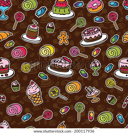 Vector colorful seamless pattern with sweets