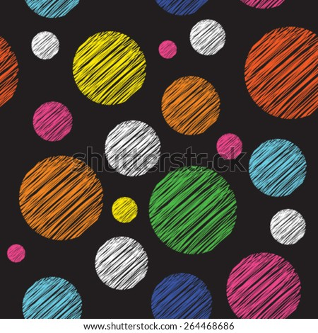 vector. colorful shaded circles of different size on a black background. seamless texture, wallpaper. Stylish circles of different diameters and colors in a chaotic manner.