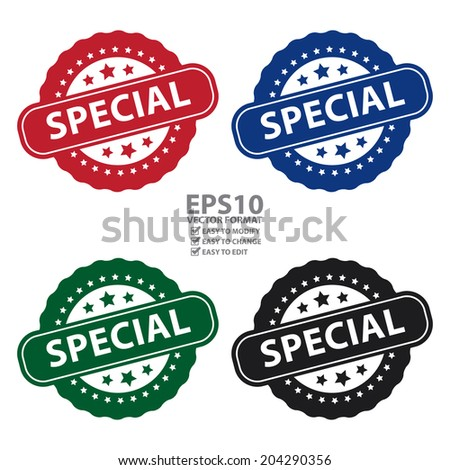 Vector : Colorful Special Icon, Badge, Label or Sticker Isolated on White Background  - stock vector