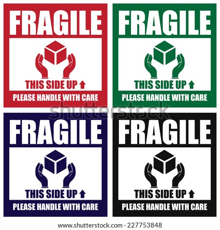 Vector colorful square fragile this side up please handle with care icon sign