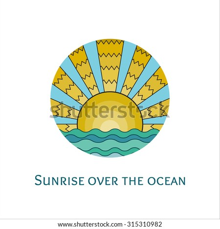 Vector colorful stained-glass window style illustration of sunrise over the ocean. Stylized mosaic logo sunset over the sea. Sunrise over the waves icon. - stock vector
