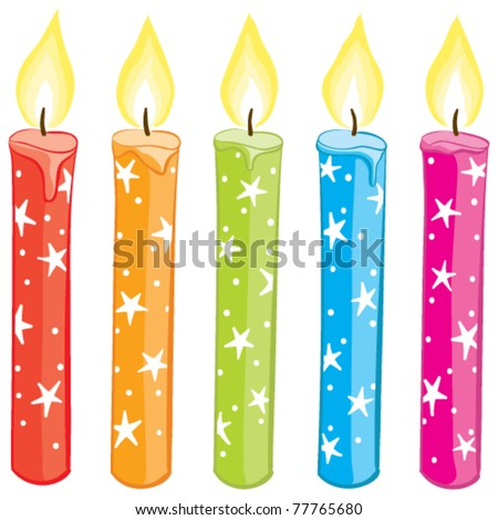 Vector colorful starry candles set. Gradient free illustration. - stock vector