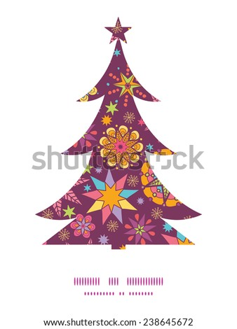 Vector colorful stars Christmas tree silhouette pattern frame card template - stock vector