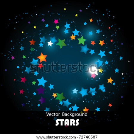 Vector Colorful Stars Spiral - stock vector