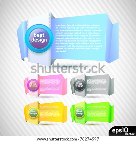 Vector colorful stickers with paper card - stock vector