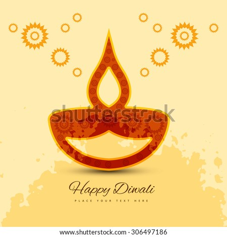 vector colorful style happy diwali background illustration - stock vector