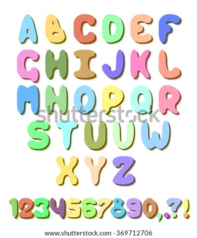 Vector colorful sweet alphabet set