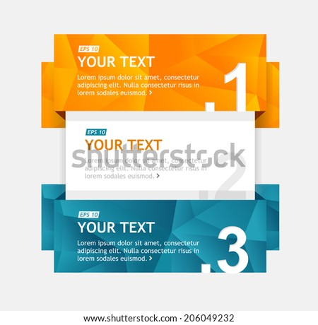 Vector colorful text boxes, infographics options banner 1 2 3 - stock vector