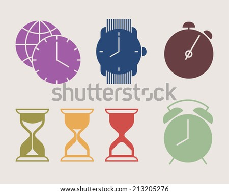 Vector colorful time icons set featuring watch, alarm clock, stopwatch, world time zones symbol, glass hour icon in three stages - stock vector