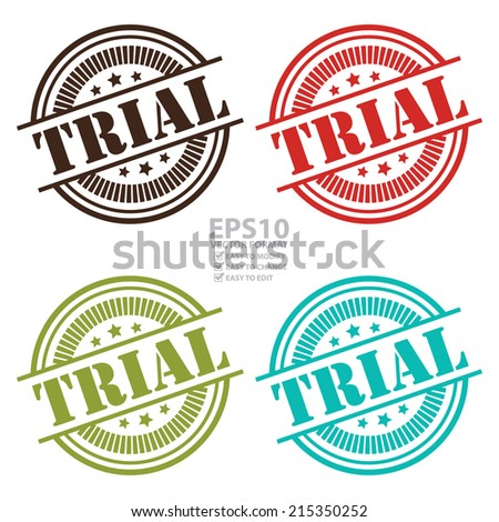 Vector : Colorful Trial Icon,Sticker or Label Isolated on White Background - stock vector