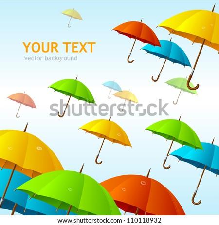 Vector colorful umbrellas flying high - stock vector