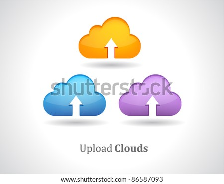 Vector colorful upload cloud - stock vector