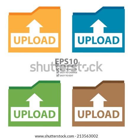 Vector : Colorful Upload Document Icon, Sign or Button Isolated on White Background  - stock vector