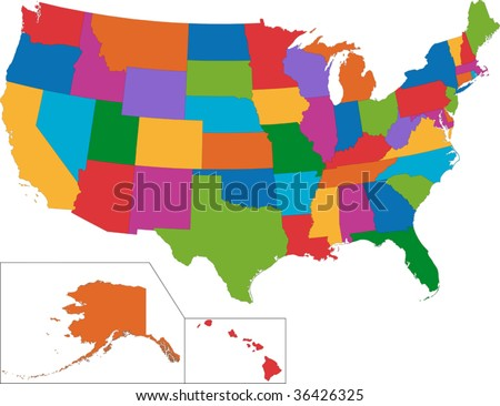 Vector Colorful USA map with state borders - stock vector