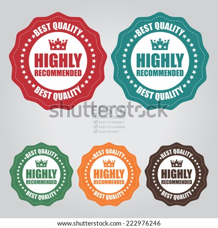 Vector : Colorful Vintage Highly Recommended Best Quality Icon, Label or Sticker - stock vector