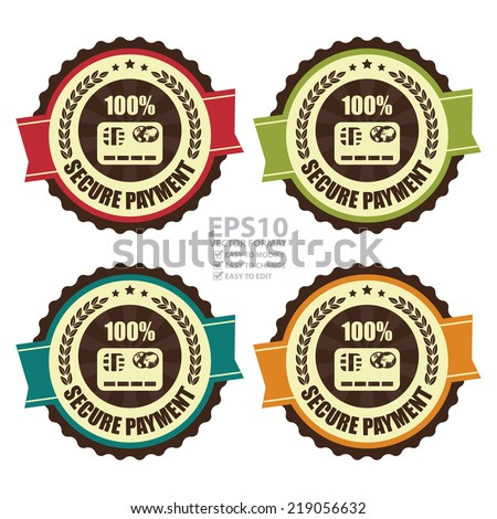 Vector : Colorful Vintage Secure Payment Icon, Badge, Sticker or Label Isolated on White Background