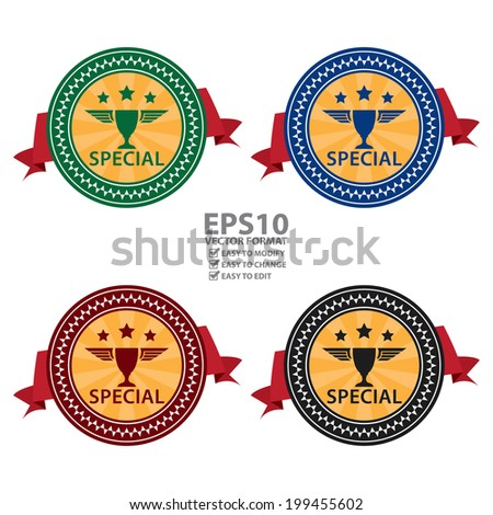 Vector : Colorful Vintage Style Special With Red Ribbon Icon, Sticker, Badge or Label Isolated on White Background - stock vector