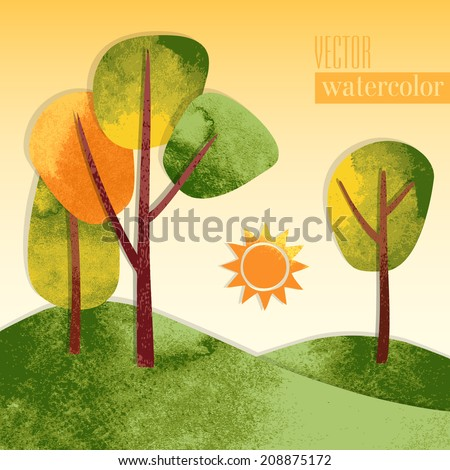 Vector colorful watercolor applique with cartoon landscape  - stock vector