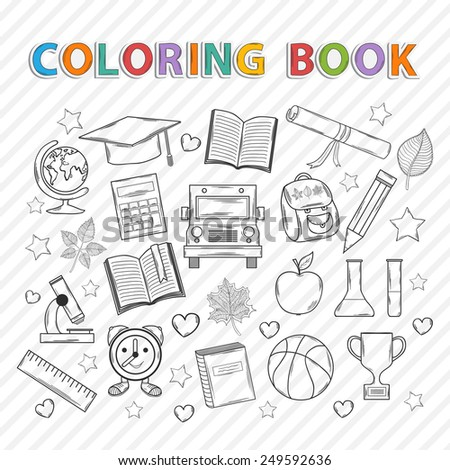 coloring book on theme education icon stock vector 527837620 coloring book on creation coloring book contest