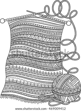 Vector Coloring Book Adult Openwork Knitted Stock Vector 469009412 ...