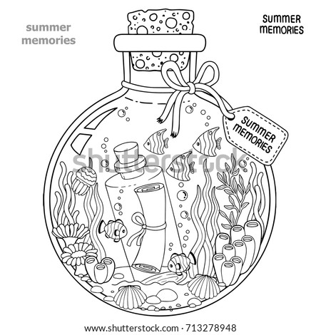 Vector Coloring Book Adults Glass Vessel Stock Vector ...
