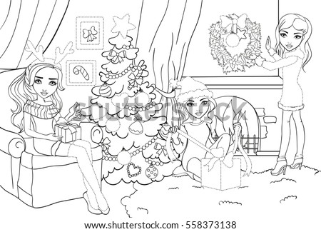 Vector Coloring Book Girls Decorate Room Stock Vector 558373138 ...