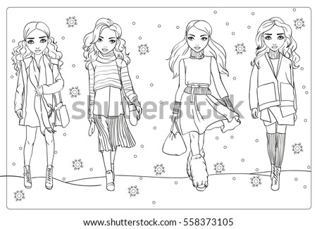 Vector Coloring Book Girls Winter Clothes Stock Vector 558373105 ...