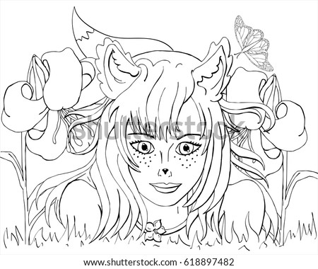 Vector Coloring Girl With Fox Ears In Anime Style Book For Adults And Children