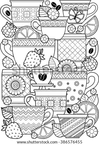 Vector Coloring Page Book For Adult Cups Of Herbal Tea And Coffee