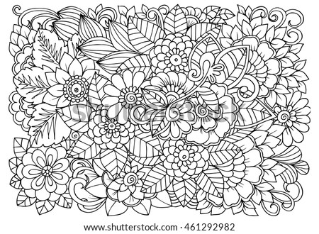vector coloring page of floral pattern doodle flowers for adult anti stress book - Floral Coloring Pages