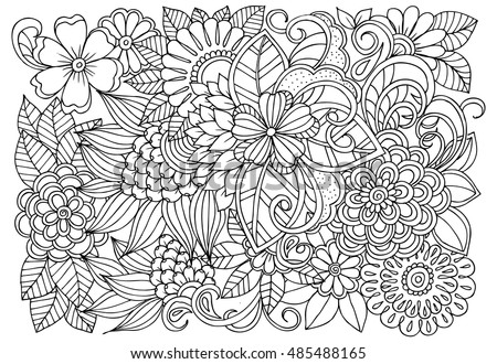 Vector Coloring Page Floral Pattern Doodle Stock Vector