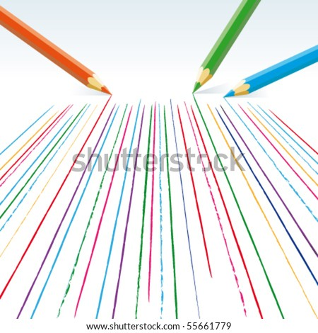 Vector  colour pencils drawing straight lines - stock vector