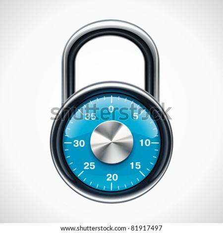 Vector combination padlock - stock vector