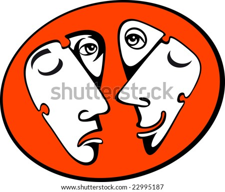 Vector comedy and tragedy masks - stock vector